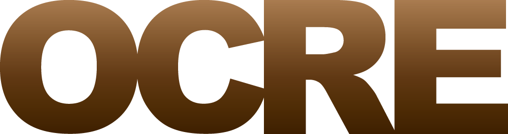 The official OCRE logo in a brown gradient color